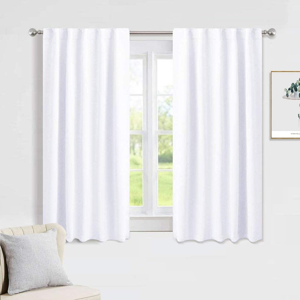 Amazon Com Pony Dance White Window Curtains Window Dressing Soft Fabric Room Darkening Back Tab Rod Pocket Kids Curtain Drapes Privacy Protect For Bedroom Bathroom 42 W X 54 Inch L Pure