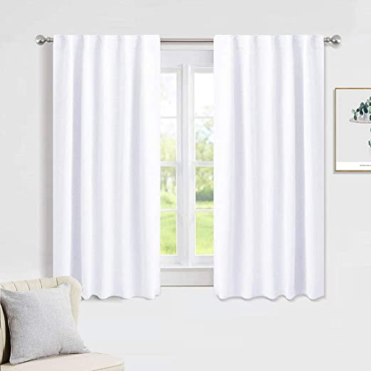 Amazon.com: PONY DANCE Window Curtains Drapes - White Panels Short