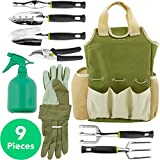 Vremi 9 Piece Garden Tools Set - Gardening Tools with Garden Gloves and Garden Tote - Gardening Gifts Tool Set with Garden Trowel Pruners and More - Vegetable Herb Garden Hand Tools with Storage Tote
