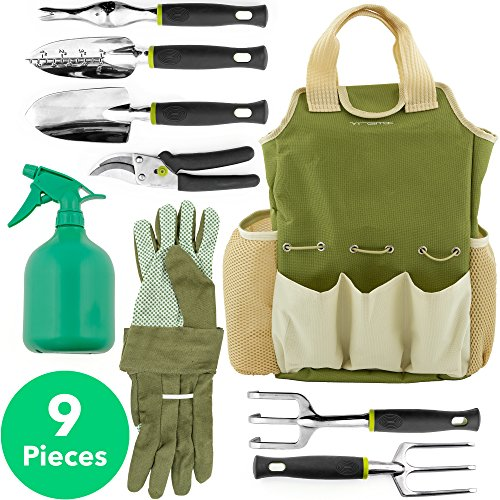 Vremi 9 Piece Garden Tools Set - Gardening Tools with Garden Gloves and Garden Tote - Gardening Gifts Tool Set with Garden Trowel Pruners and More - Vegetable Herb Garden Hand Tools with Storage Tote (Caddy Gift)