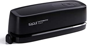 Eagle Electric 3 Hole Punch, Desktop Hole Puncher, Portable, 20 Sheets Punch Capacity, AC or Battery Operation, Black