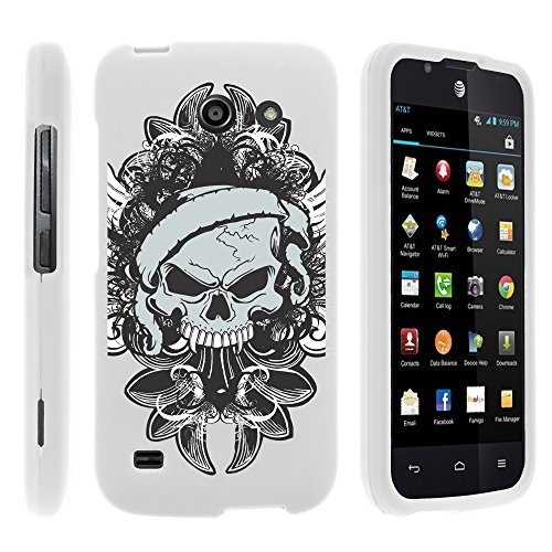 Miniturtle [Huawei Tribute Case, AT&T Fusion 3 Slim Cover] -[Snap Shell] Slim 2 Piece Lightweight Rubberized Coat Hard Snap On White Case - Demon Skull (White Rubberized Snap Skulls)
