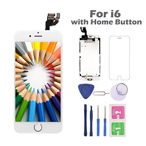 For iPhone 6 Screen Replacement with Home Button, Arotech 4.7 Inch Full Assembly LCD Display Digitizer Touch Screen with Repair Tool Kit and Tempered Glass Compatible with A1549 A1586 A1589 (6-White)
