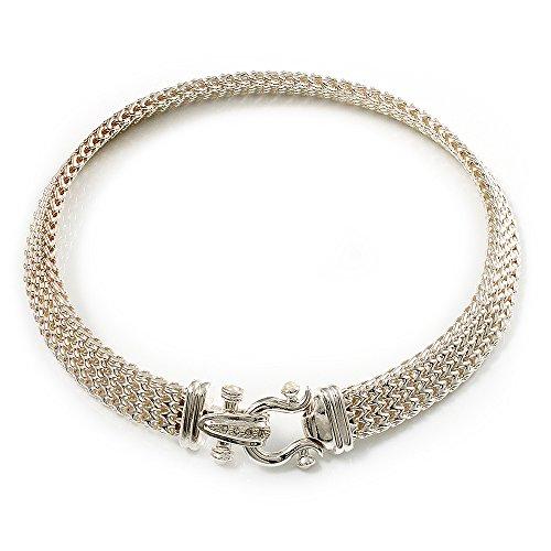 Avalaya Silver Tone Mesh 'Buckle' Choker Necklace ()