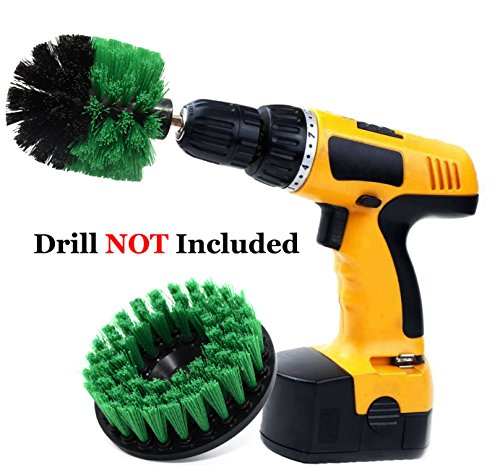 Impact Furniture - Drill Brush Kit- Heavy Duty Drill Scrubbers Attachment Set - All Purpose for Cleaning Kitchen, Furniture, Brick, Bathtub, Toilet,Grout, Floor - Green, Pack of 2