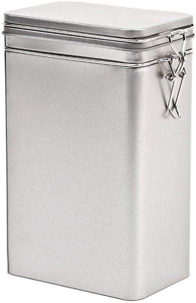 Caja de almacenamiento de metal con cierre de clip, lata de metal con tapa, 12 x 7,5 x 18,5 cm, grande, cuadrada, vacía, mate, caja de almacenamiento, lata de lata, tarro de