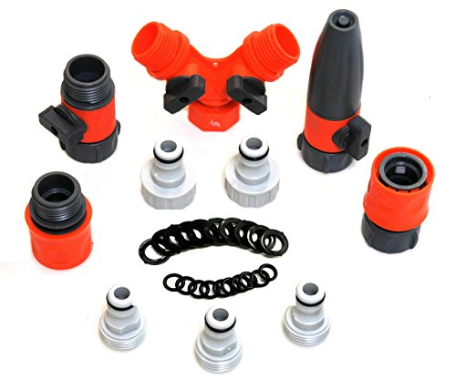(RAAYA Garden Hose/Quick Connectors Set: Garden Hose Nozzle, Hose Splitter - with Shut Off Valve, 20 Rubber Washers, for: Outdoor Soaker, Sprinkler, Drip Irrigation Systems - Best Value Bundle)