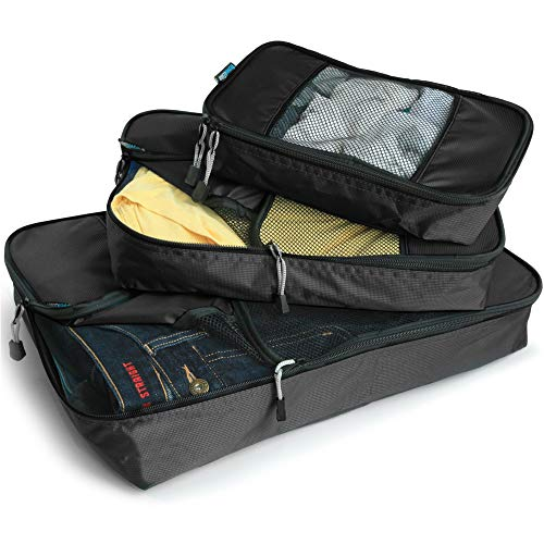 GOWETION Packing Cubes System for Travel 3 Pieces Various Sizes Set Weekender Luggage Organizer Laundry Bags for Packing (Black)