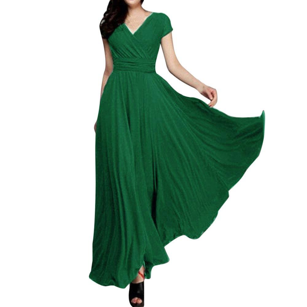 Styledress Sommerkleider Damen Elegant Ärmellose V-Ausschnitt Kleid Cocktailkleider Frauen Lässiges Festes Chiffon-Kleid Langes Kleider Strandkleid