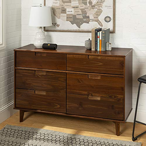 WE Furniture AZR6DSLDRWT Dresser, Walnut ()