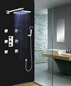 "Luxury 10"" Water Power LED Shower Head Rainfall Thermostatic 6 Massage Jets Spray Body Shower Set Faucet, Chrome Ys 7008"