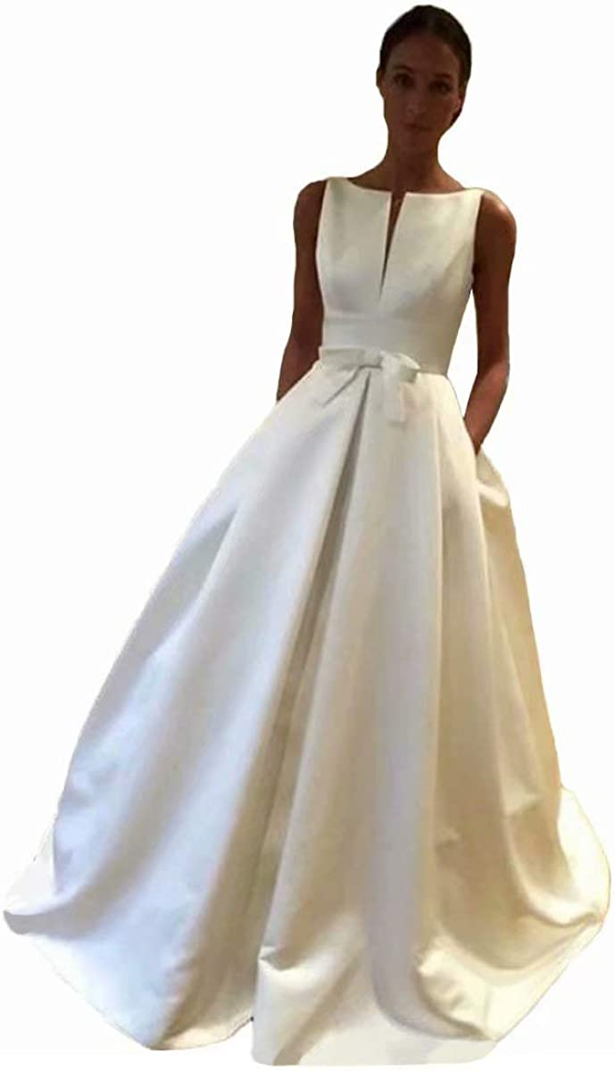 Womens Wedding Dress Satin Sleeveless Wedding Ball Gown Long Modest Bridal Gowns with Pockets