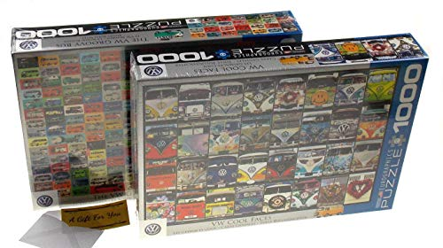 The VW Groovy Bus & VW Cool Faces Jigsaw Puzzle Bundle - 1000 pcs Eurographics ()