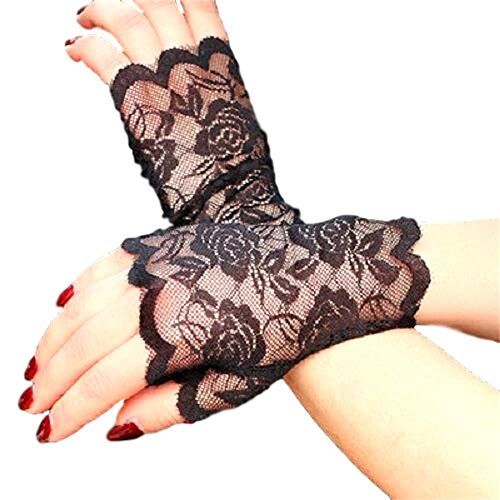 Elegant Stretch Lace Evening Gloves (One Size Fits Most) (Scalloped Wrist Length Fingerless, Black) ()
