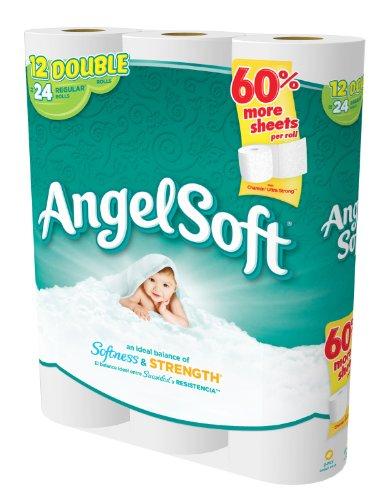 030400773778 - Angel Soft Toilet Paper, Bath Tissue, 12 Double Rolls carousel main 1