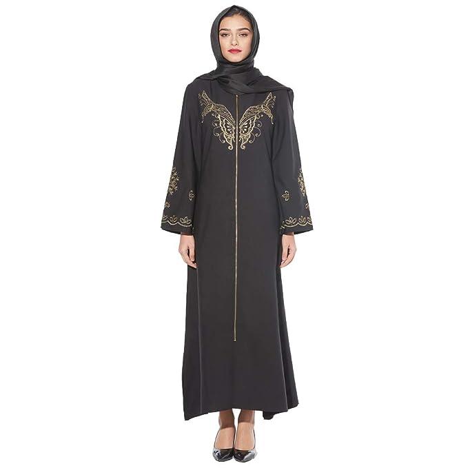 8e0fdbb16d BaronHong musulmán islámico árabe Mariposa Bordado Mujeres Zip Up Abaya Maxi  Vestido  Amazon.es  Ropa y accesorios