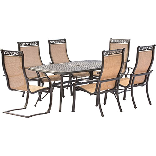 Hanover Manor 7 Piece Dining Set with Four Dining Chairs, Two C-Spring Chairs and a 72 x 38