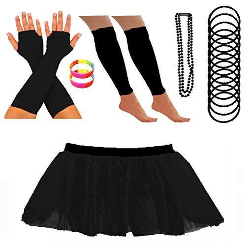 REDSTAR Neon Tutu Skirt Leg Warmers Fishnet Gloves Necklace Beads Gummy Bracelets and Neon Wrist Bands (10-18 US, (80s Fancy Dress Plus Size)