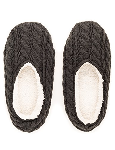 Grey Knit Indoor Slippers Ballet Womens Noble Mount Cable B6qFP