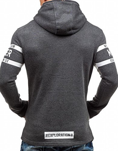 Letter Mens Grey Hoodie Full M Dark Long amp;S Sweatshirt amp;W Patern Sleeve Zipper pWEqqU8w