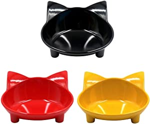 WXLAA Cat Bowls, Anti-Slip Multi-Purpose Pet Feeding Bowl Shallow Wide Flat Cat Food Water Bowls Dishes, Set of 3