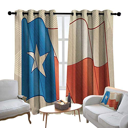 Lewis Coleridge Grommet Curtains Texas Star,Flapping Texan Flag Lone Star Pattern with Retro Effect Americana, Vermilion Beige Blue,Blackout Draperies for Bedroom Window 52