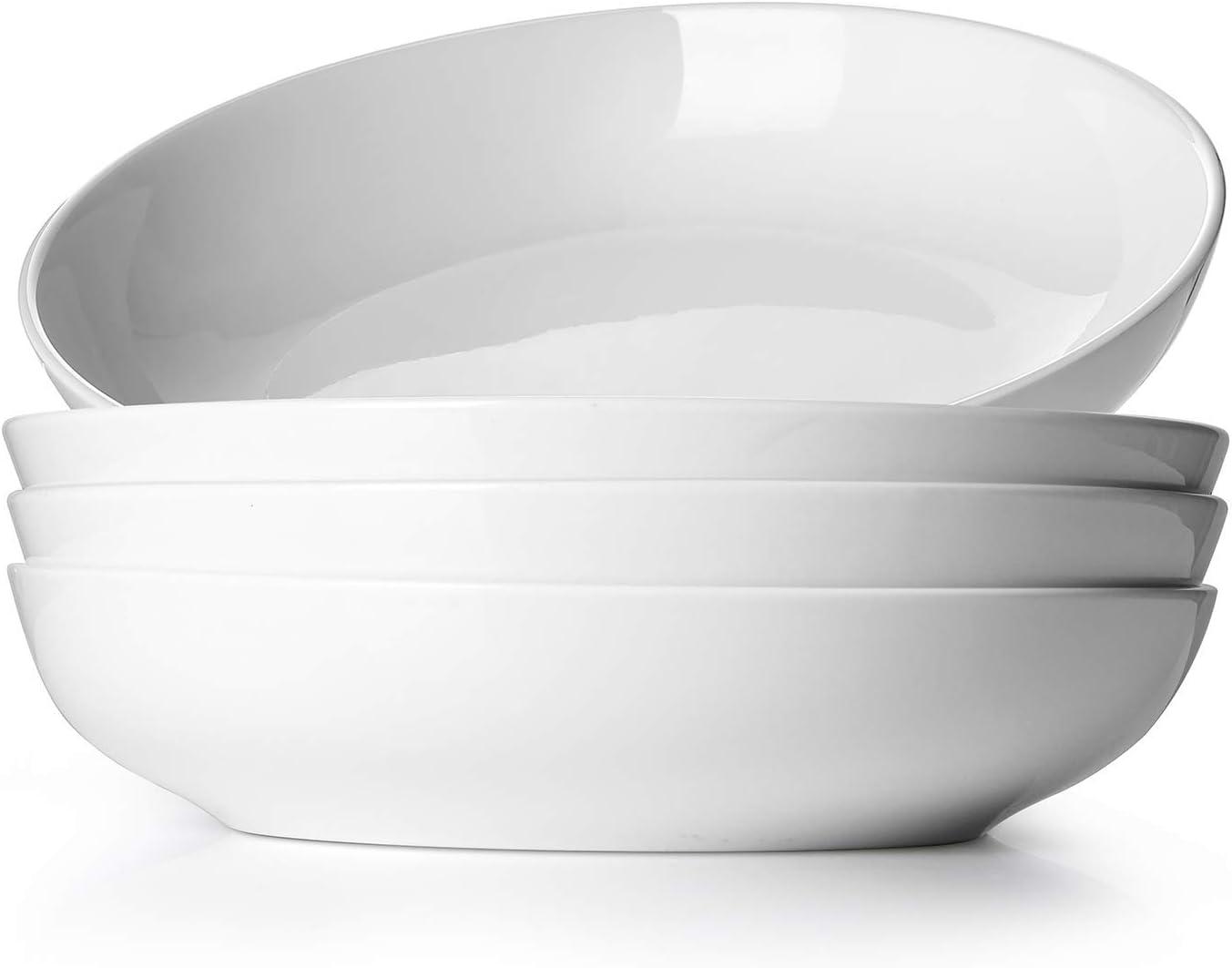 DOWAN Ceramic Pasta Salad Bowls, 50 Ounces Large Serving Bowl Set of 4, Microwave and Dishwasher Safe, Shallow & Versatile Enough, White