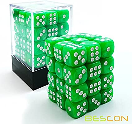Amazon Com Bescon 12mm 6 Sided Dice 36 In Brick Box 12mm Six Sided Die 36 Block Of Dice Marble Grass Sports Outdoors