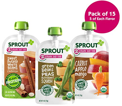 Sprout Organic Stage 2 Baby Food Pouches, Variety Pack, 4 Ounce (Pack of 15) 5 of Each: Sweet Potato White Bean Cinnamon, Carrot Apple Mango & Green Bean Peas Butternut ()