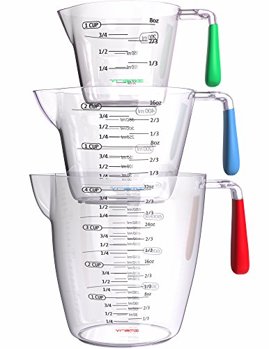 - Vremi 3 Piece Plastic Measuring Cups Set - BPA Free Liquid Nesting Stackable Measuring Cups with Spout and Decorative Red Blue and Green Handles - includes 1, 2 and 4 Cup with Ml and Oz Measurement