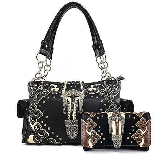 (Justin West Western Purse Tooled Laser Cut Floral Design Studs Rhinestone Buckle Concealed Carry Handbag With Trifold Wristlet Cross Body Strap Wallet Set (Black White))