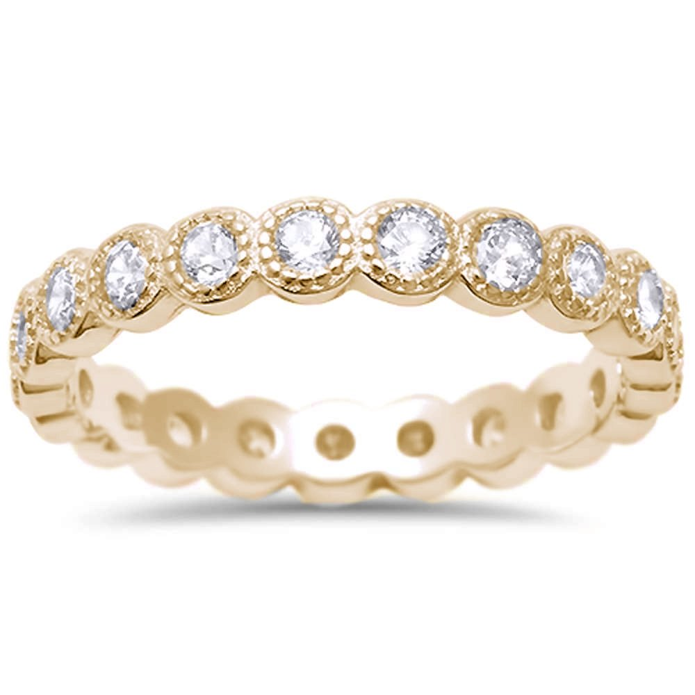 Oxford Diamond Co Yellow Gold Plated CZ Antique Style Bezel Set Eternity Stackable .925 Sterling Silver Ring Sizes 8