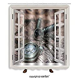 Vanfan designed Windows 312264620 Classic Grunge Pocket Watch Clock, Skeleton Keys O Shower Curtains,Waterproof Mildew-Resistant Fabric Shower Curtain For Bathroom Decoration Decor With Shower Hooks