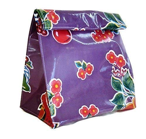 Storage Bag Gift Bag Purple Oilcloth Cherry Floral Vintage Print