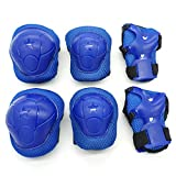 Cooplay 6pcs Small Size Blue Color Elbow Wrist Protective Knee Pads Protective Gear Guard Adjustable for Kids Boy Children Skateboard Bicycle Ice Skate Roller Skating Cycling Riding Outdoor Sports
