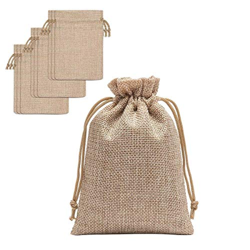 60 Pieces Burlap Bags with Drawstring - 5.3x3.8 inch Drawstring Gift Bags Jewelry Pouch for Wedding Party and DIY Craft by Homtable