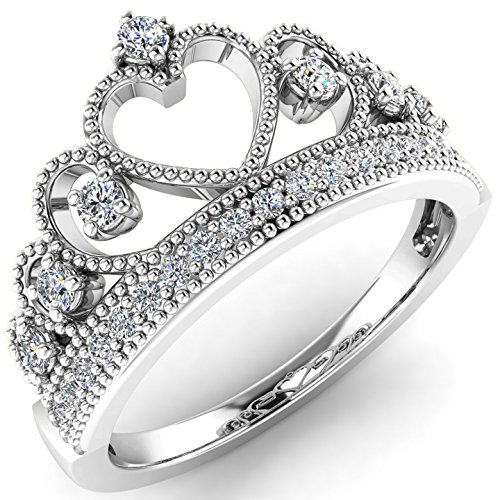 Rhodium Plated Hearts Band - Sterling Silver Rhodium Plated Heart Princess Crown CZ Band Ring Size 6
