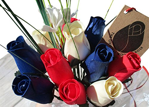 The Original Wooden Rose Patriotic Holiday Flowers RED, White, and Blue Fourth of July Memorial Day Presidents Day (1 Dozen) ()