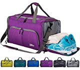 CoCoMall Foldable Sports Gym Bag with Shoes Compartment & Wet Pocket, Lightweight Travel Duffel Bag (Purple)