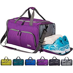 8a3a35071fc FANCYOUT Foldable Sports Gym Bag with Shoes Compartment   Wet Pocket,  Lightweight Travel Duffel Bag
