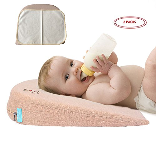 Crib Wedge Pillow Newborn Baby Memory Cotton Sleep Positioner, Aids In Minimizing Acid Reflux, Spit-up, Trapped Trapped Gas, Congestion by BABEE