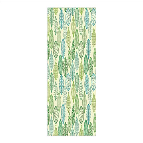 Pattern Leaf Mission (3D Decorative Film Privacy Window Film No Glue,Nature,Hand Drawn Vintage Style Ornamental Leaves Forest Pattern in Green and Blue Tones,Multicolor,for Home&Office)