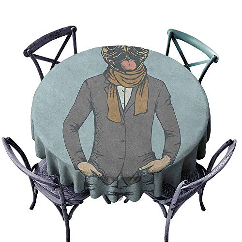 Polyester Round Tablecloth Jacquard Tablecloth Pug,Abstract Image of a Dog with Human Proportions with Jacket Scarf and Jeans Absurd, Taupe Brown Blue Diameter 70