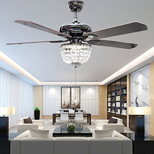 RS Lighting American Luxury Crystal Antique Wood 5-Leaves 52 Inch Pull Switch Ceiling Fan for Living Room Bedroom Dining Room Led Fan Chandelier Lighting Fixture (Wood) by RS Lighting (Image #1)