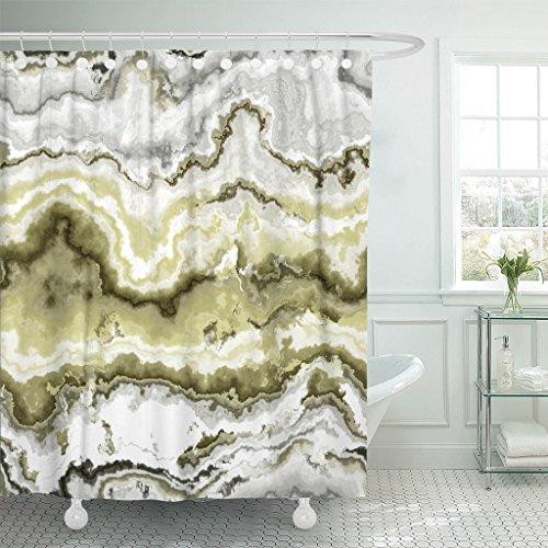 Emvency Waterproof Shower Curtain Curtains Green African Gem Stone Pattern White Agate Aluminosilicate Batu Botswana Brazilian 72