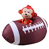Jian Ya Na Stuffed Animal Storage Bean Bag World Cup Sports Pattern Kids Toy Storage Bag Chair Perfect Storage Solution For Blankets Pillows Towels Clothes (American Football, 26 inch)