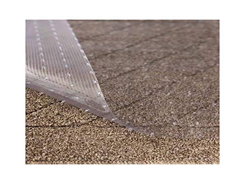 Resilia - Clear Vinyl Plastic Floor Runner/Protector for Deep Pile Carpet - Non-Skid Decorative Pattern, (36 Inches Wide x 25 Feet ()