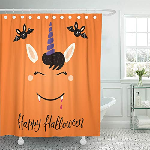Emvency Waterproof Shower Curtain with Hooks Orange Animal of Cute Funny Vampire Unicorn Face Lettering Quote Happy Halloween Flat Children Baby 72