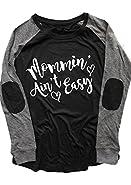 FAYALEQ Mommin Ain't Easy Long Sleeve Raglan T-Shirt Women Letter Printed Casual Tops