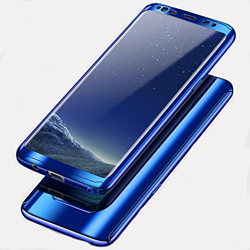 Samsung Galaxy S8 Plus Case,Diaxbest Full Body Protection Plating Case With Screen Protector Anti Scratch Ultra Thin Electroplating Mirror Cover Case for Galaxy S8 Plus (Plating Blue) (Case Mirror Protector Screen)